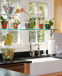10 Interior Design Ideas Make Your Small Kitchen Look Amazing and Bigger on A Budget-Install glass shelves