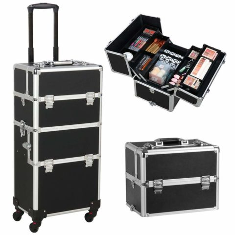 Yaheetech 3-in-1 Cosmetic Rolling Makeup Train Case