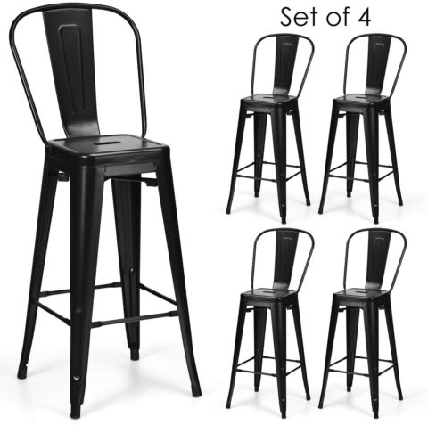 COSTWAY 61705-CYBK 30-Inch Metal Barstools Set of 4 W/Removable back