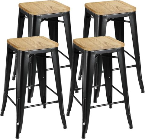 ZENY Set of 4 26-inch Counter Height Metal Bar Stools
