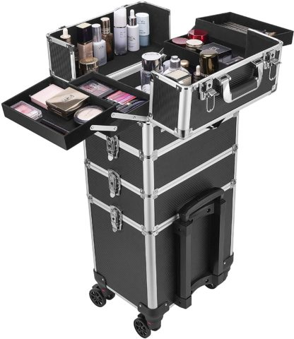 VIVOHOME 4-In-1 Rolling Makeup Train Case