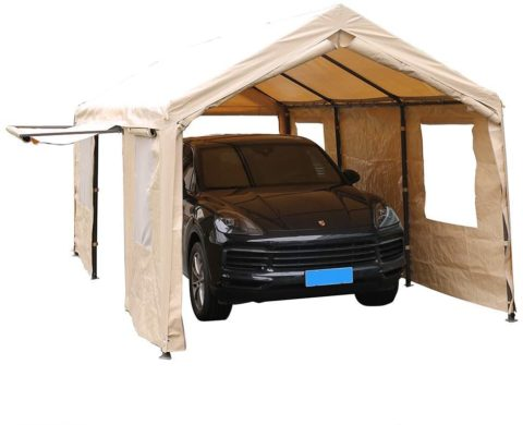 SORARA 818547022665 heavy-duty 10'x20' carport With Sidewalls & Windows