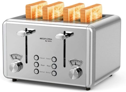 4 Slice Toaster, whall Stainless Steel,Bagel Toaster